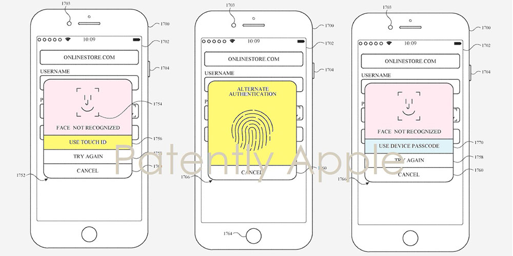 apple patent describes both face id and touch id on the same iphone