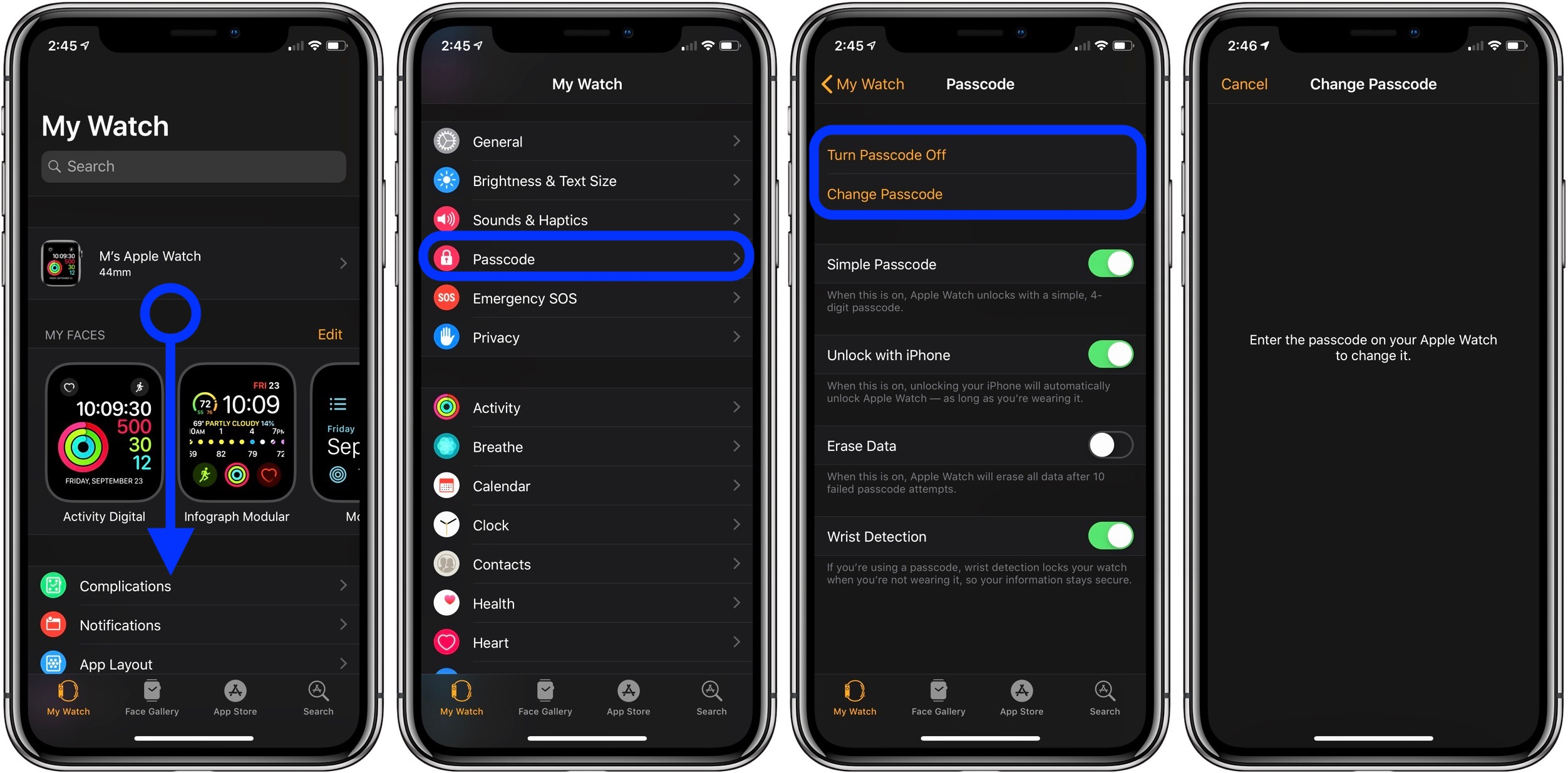 change or turn off Apple Watch passcode