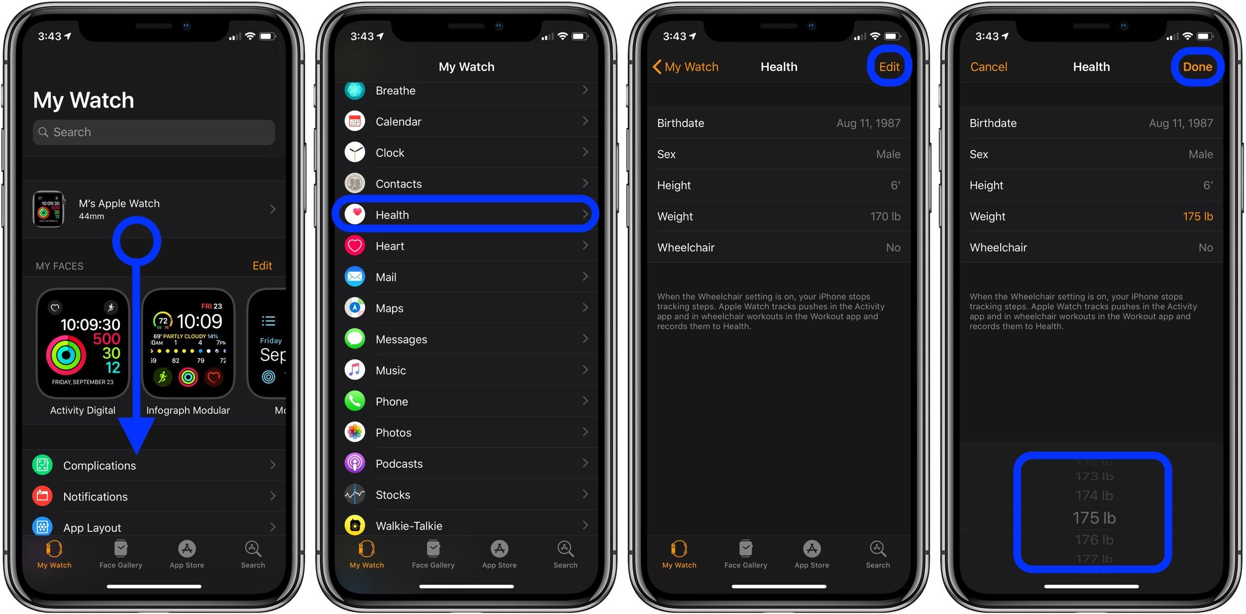update weight on Apple Watch