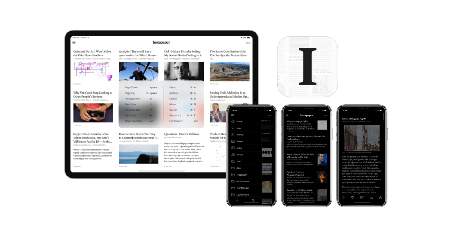 photo image Instapaper for iOS updated for new iPad Pros, shares keyboard shortcut open source library