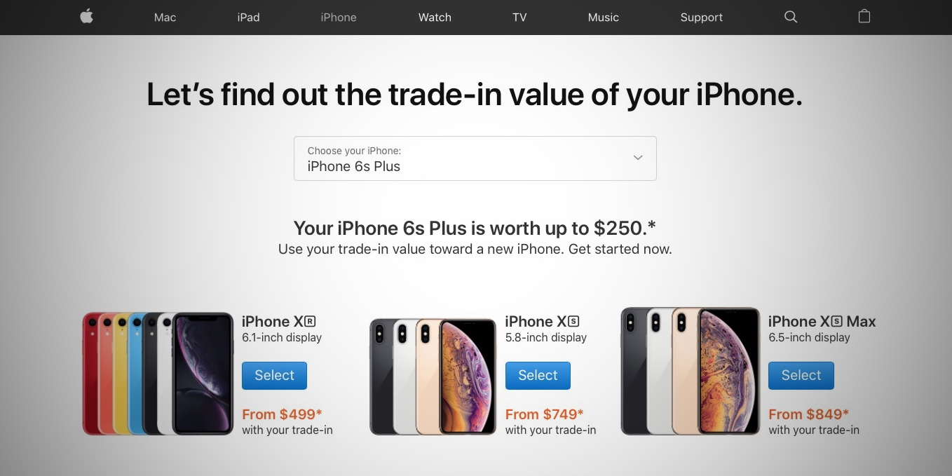 Apple Continues Iphone Xs And Iphone Xr Promo With Trade In Price Comparison Page 9to5mac