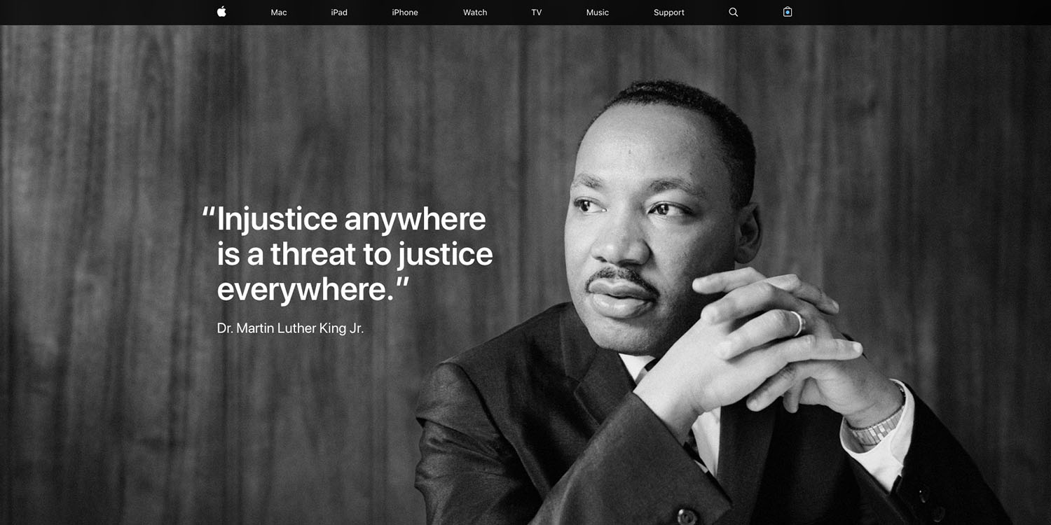 Martin Luther King Jr Day celebrated on Apple's homepage ...