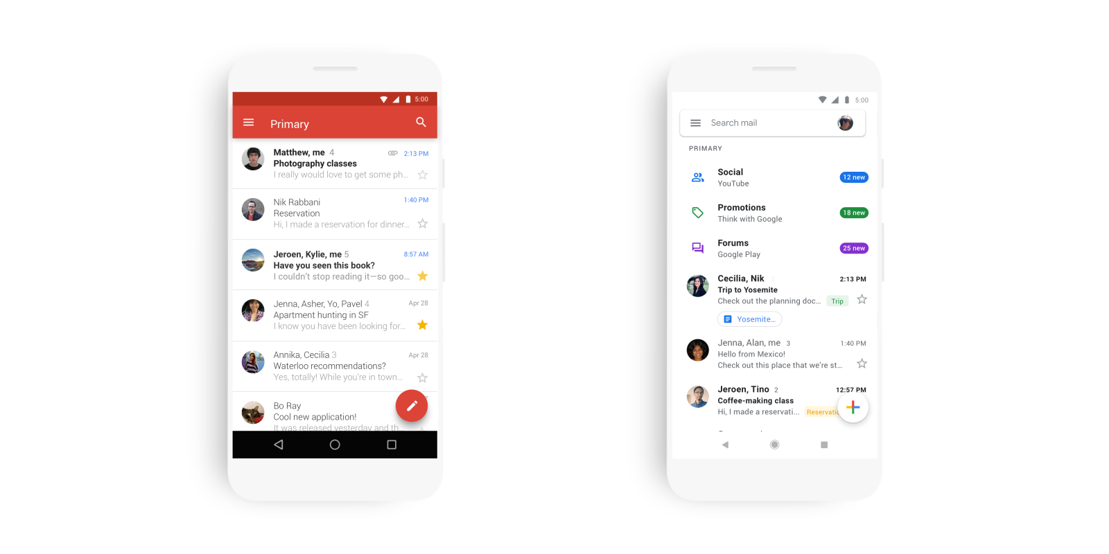 Gmail for Android and iOS revamped with Google Material Theme