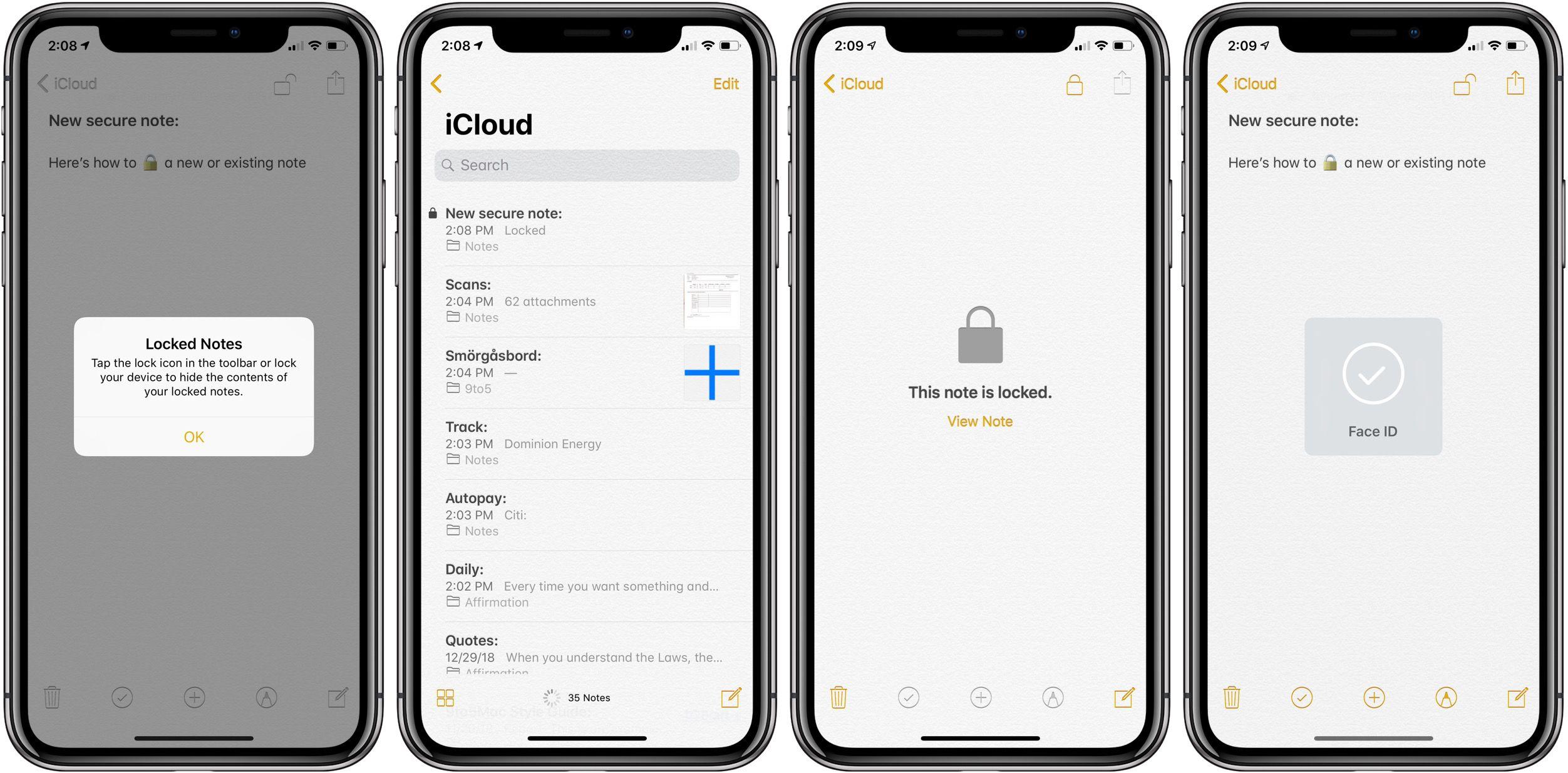 lock notes iPhone iPad