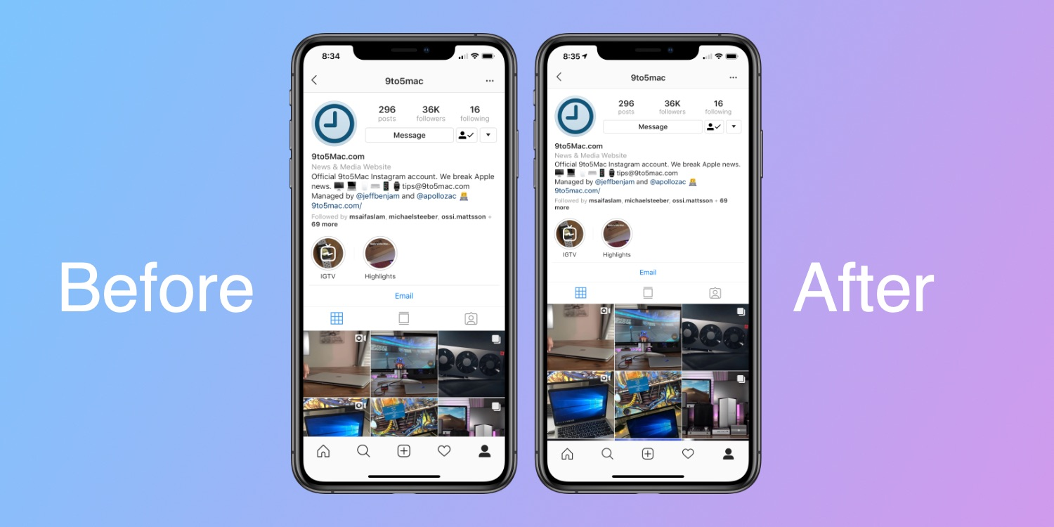 Instagram optimized for iPhone XR and XS Max again, YouTube