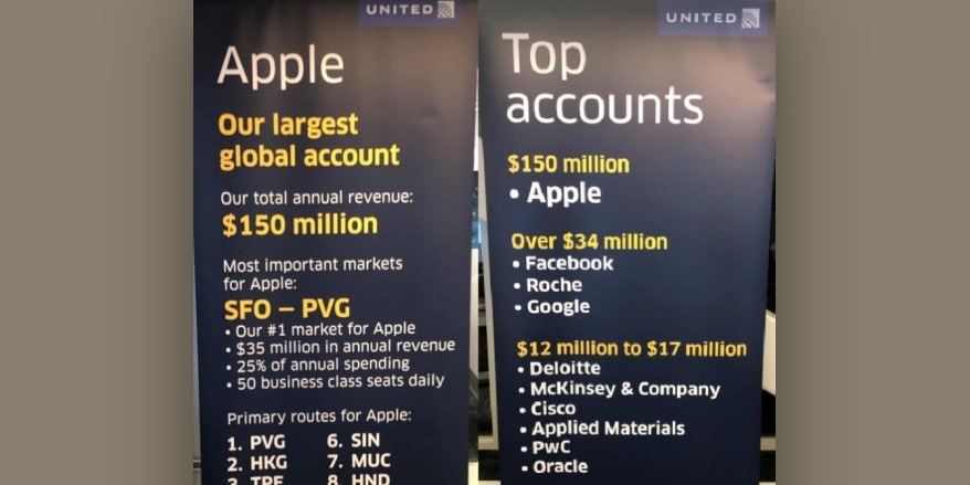 United Airlines takes down poster that revealed Apple is its largest corporate spender