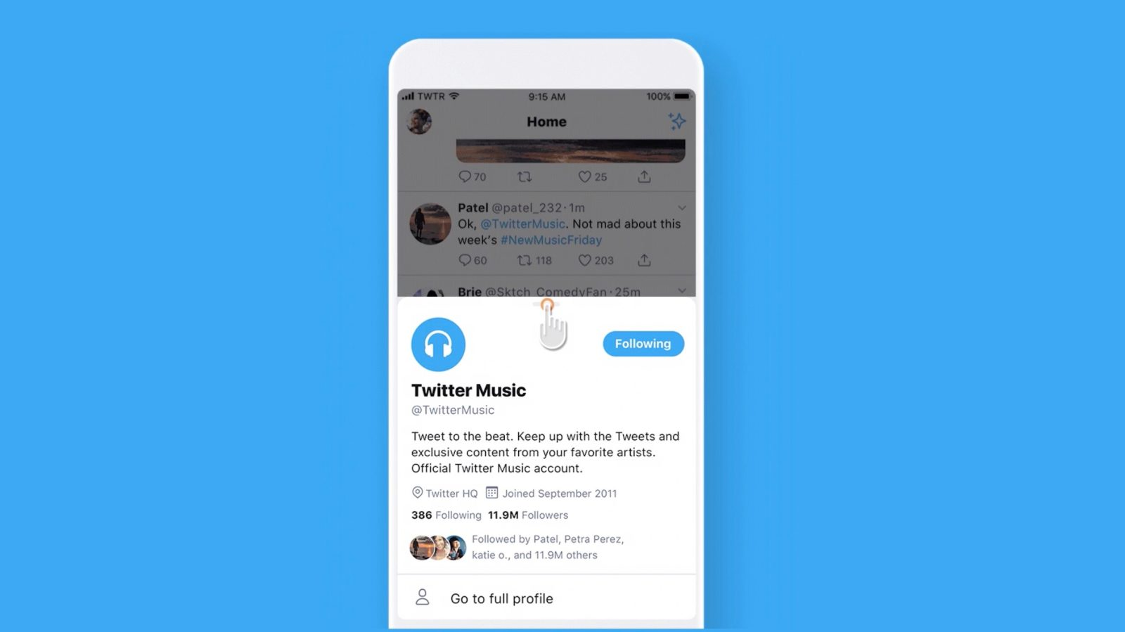 QnA VBage Twitter testing new pop-up design for quickly viewing profile details on iOS