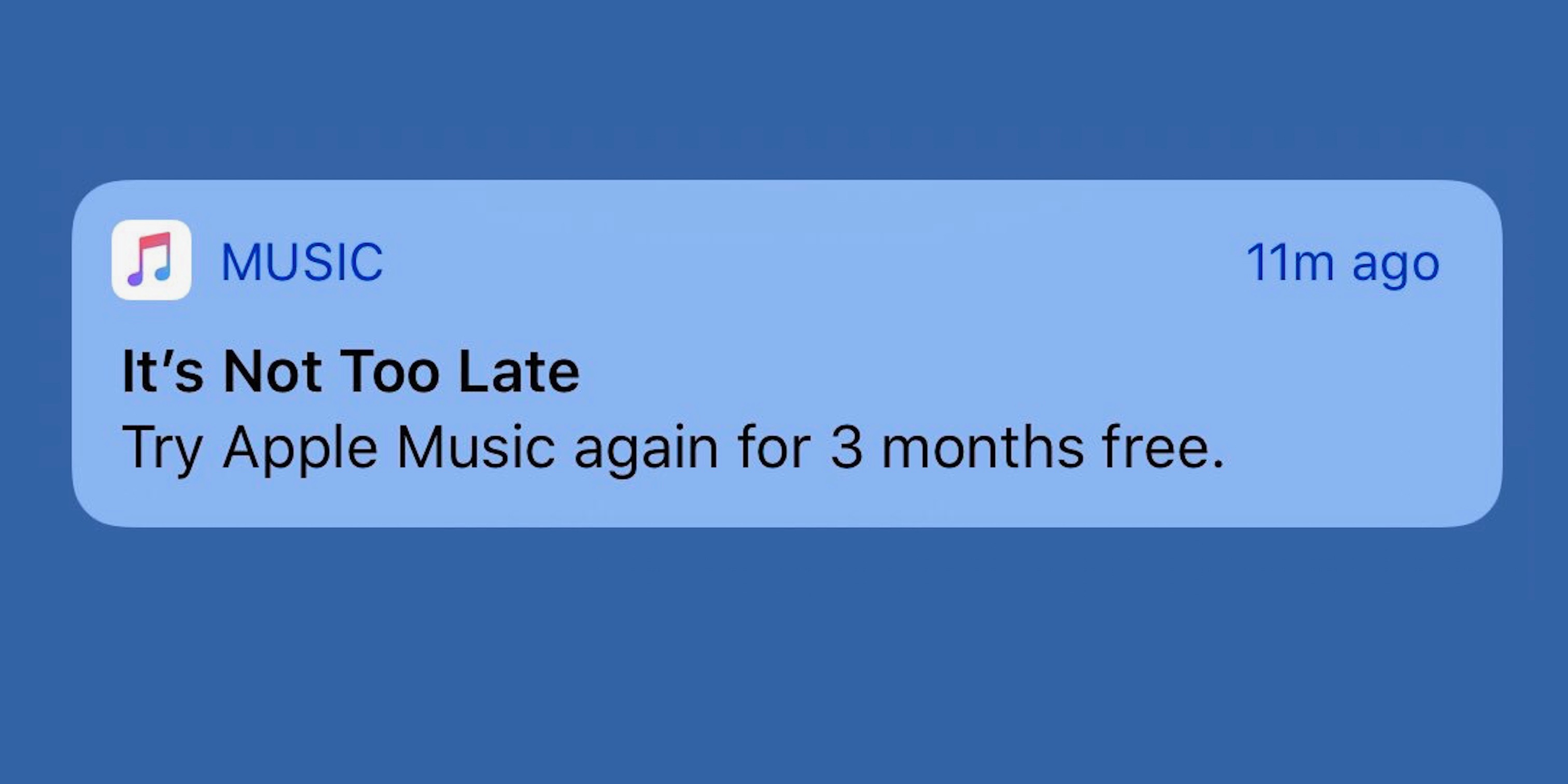 Apple sending push notifications to former Apple Music subscribers offering new free trial