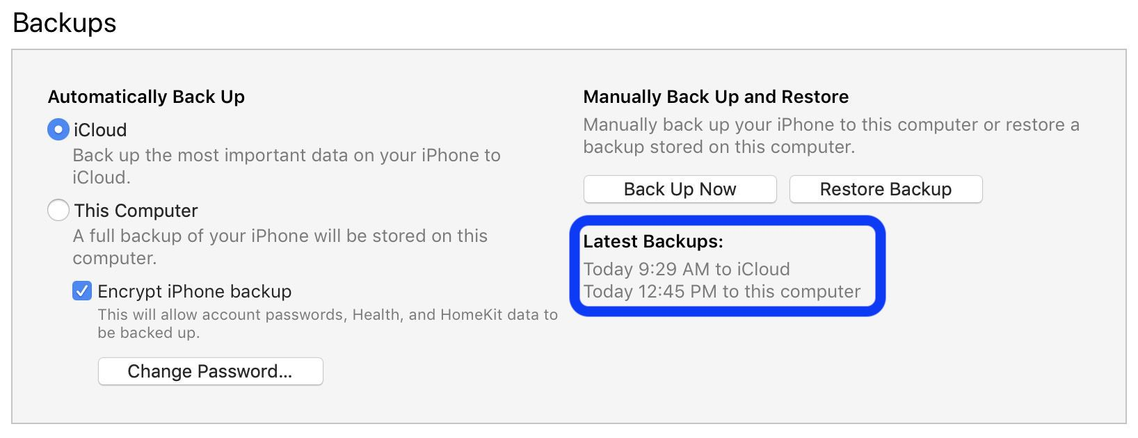 backup iPhone to iTunes walkthrough 4