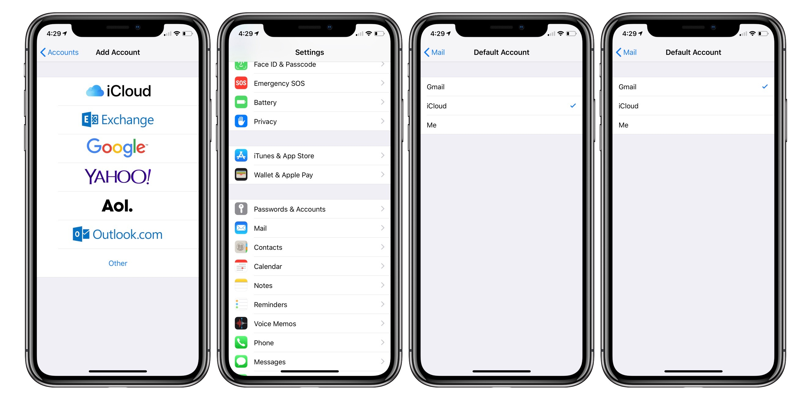 How to change the default email account on iPhone
