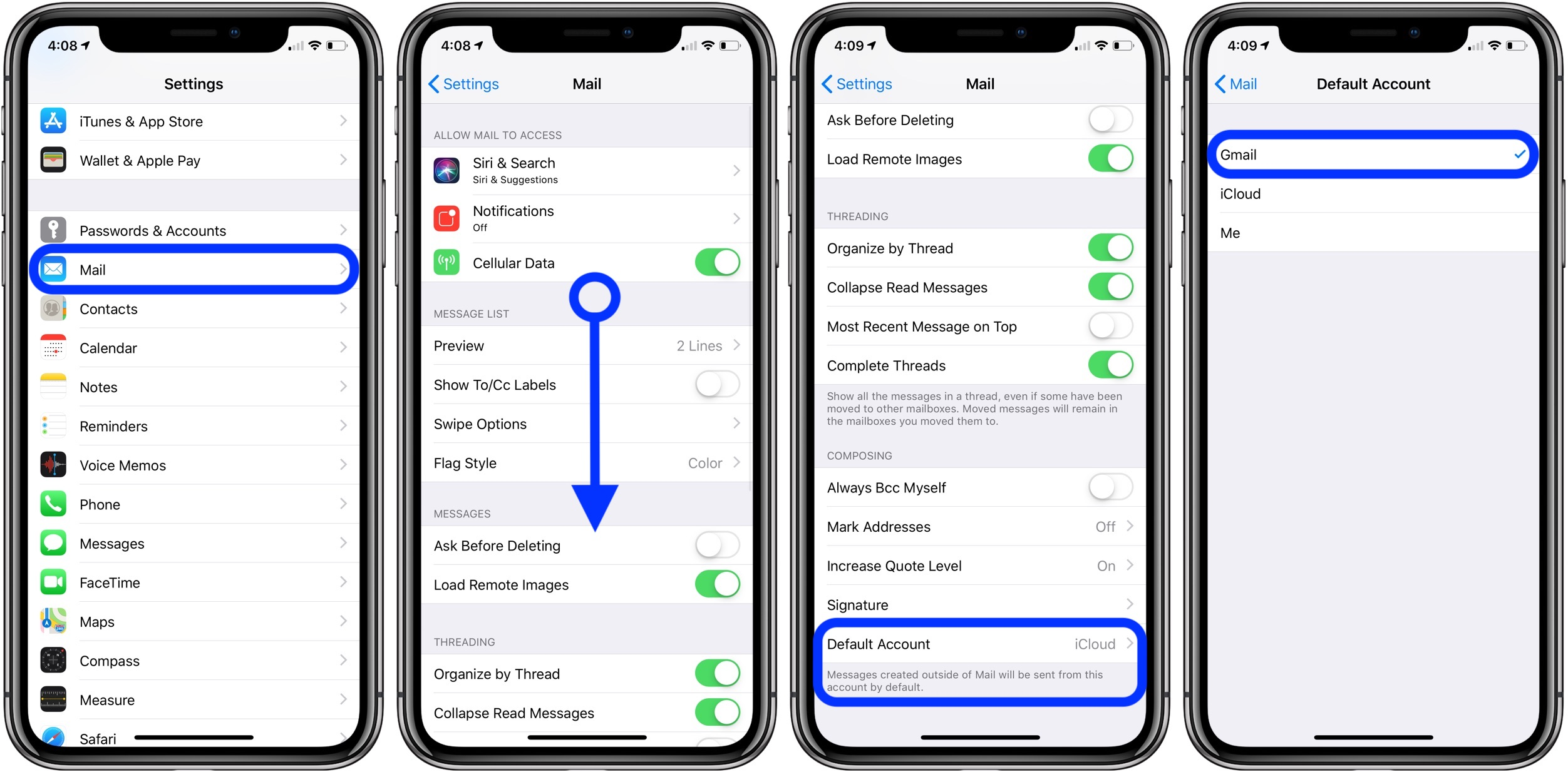 change default email iPhone walkthrough