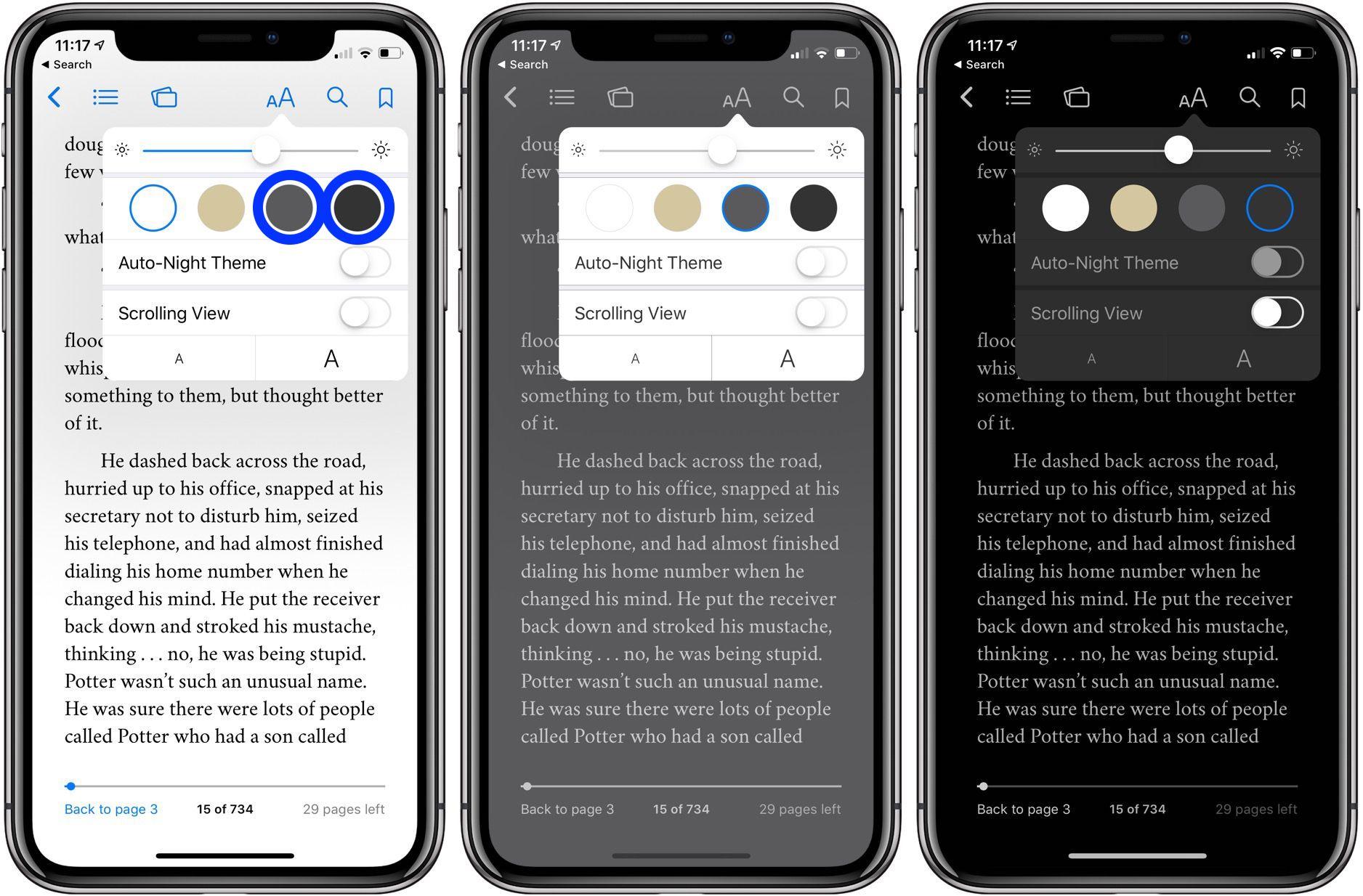 dark mode Apple Books iPhone