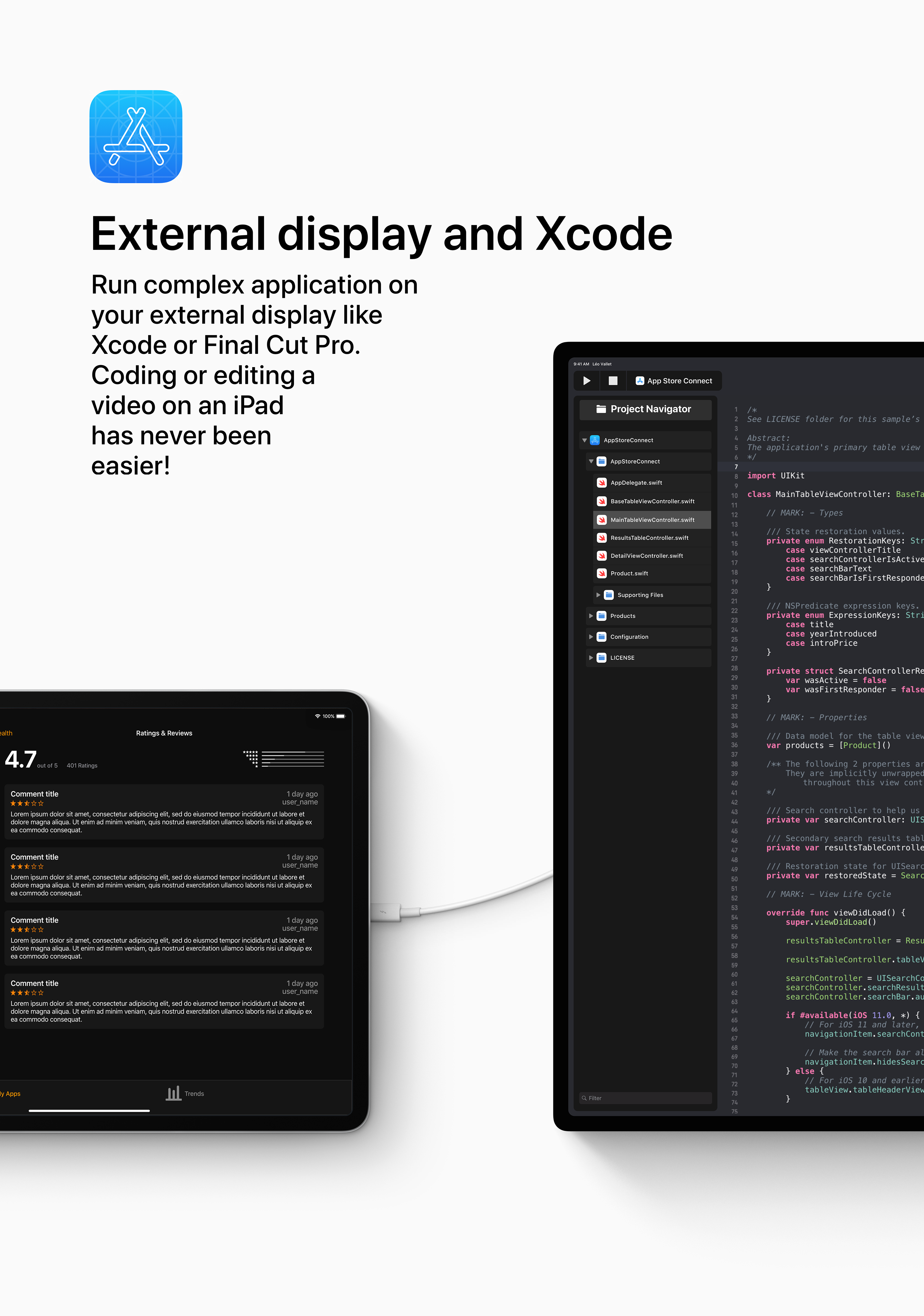iOS concept iPad external display support