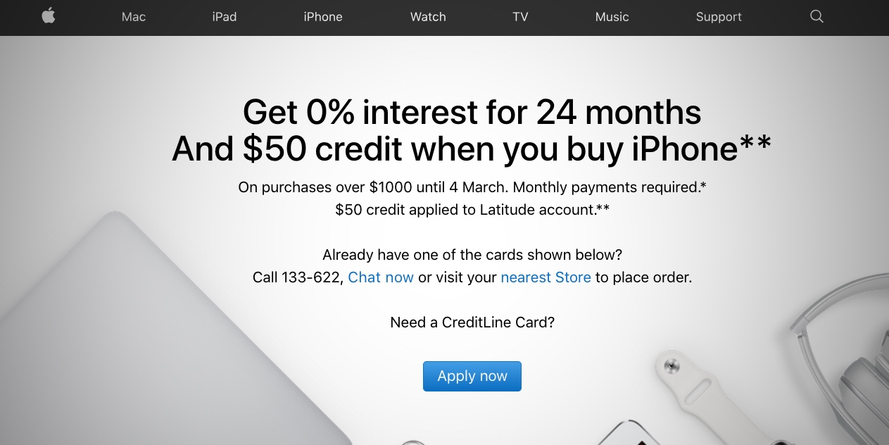 Apple launches iPhone financing promo in Australia: 0% interest for 24 months and a $50 credit