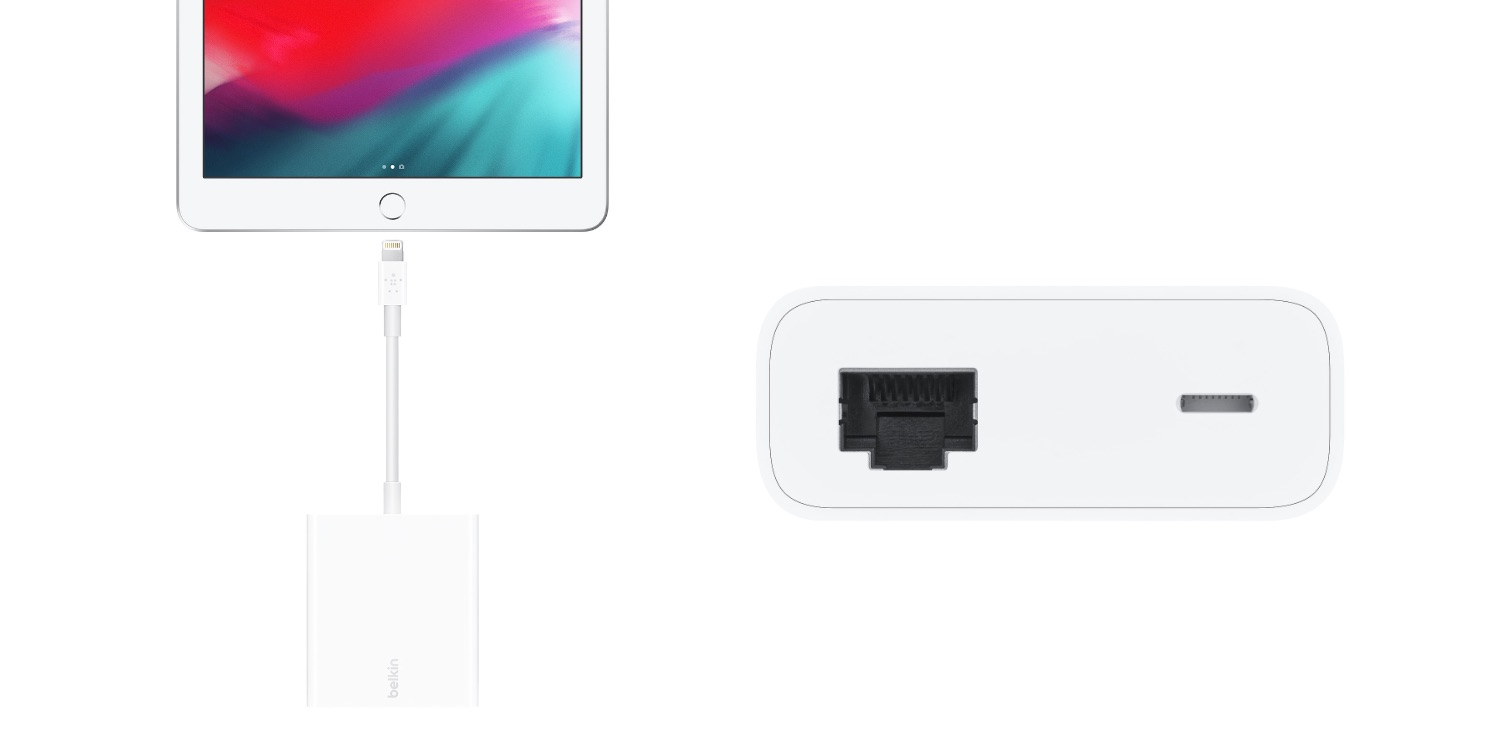 Apple now sells a Belkin Ethernet + Power dongle for iPhones and Lightning iPads