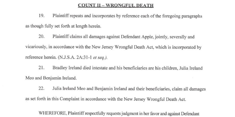 wrongful death lawsuit after alleged iPad fire