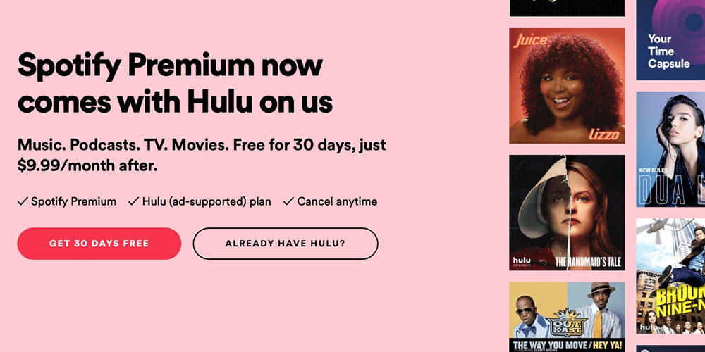 hulu free with latest spotify premium deal 9to5mac. Black Bedroom Furniture Sets. Home Design Ideas