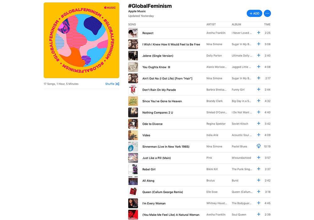 International Women's Day Apple Music playlist