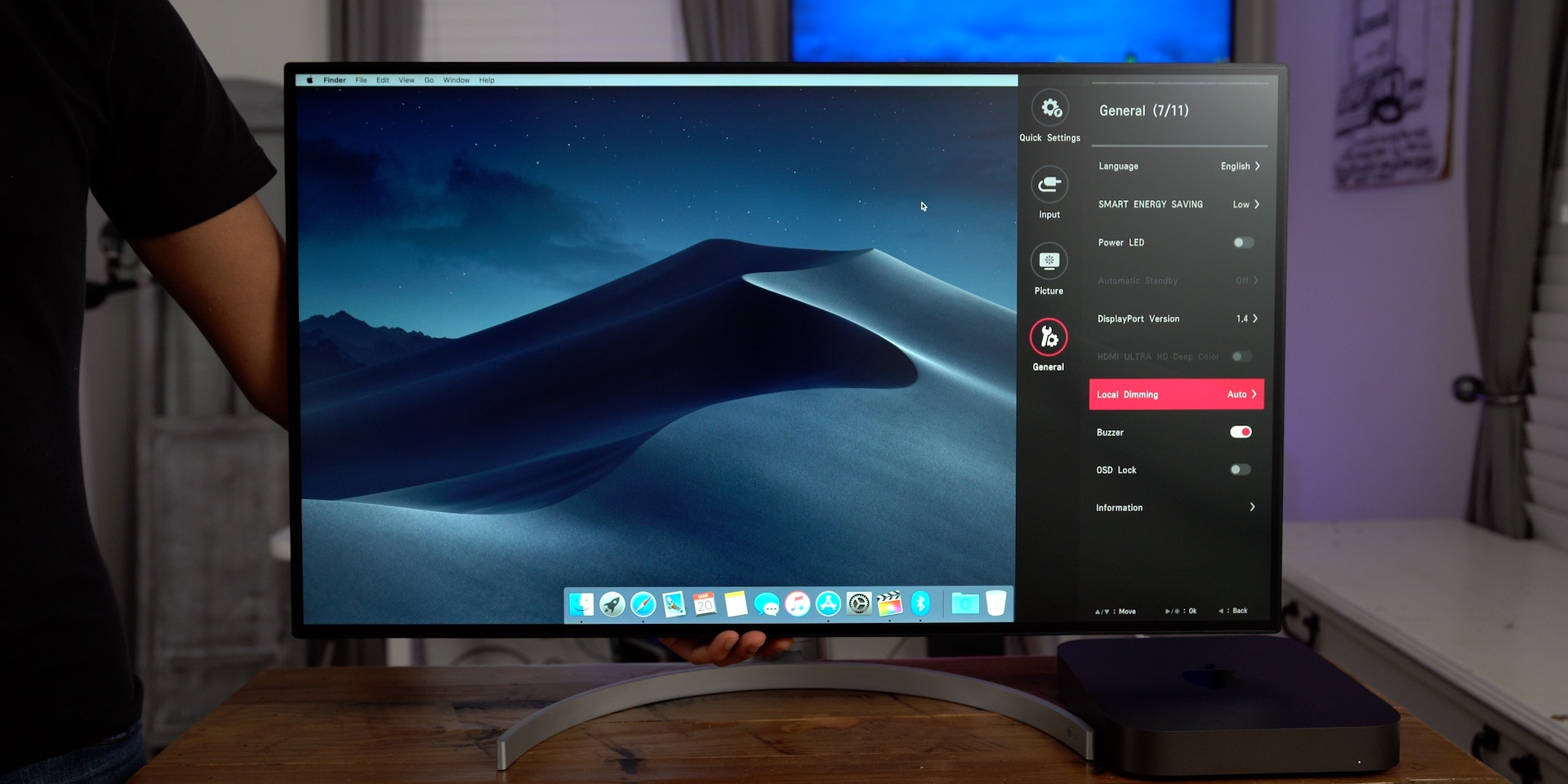 LG 32UL950 UltraFine 4K Display Review Settings Panel