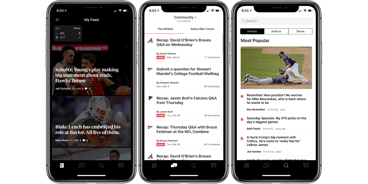 The Athletic sports app for iphone