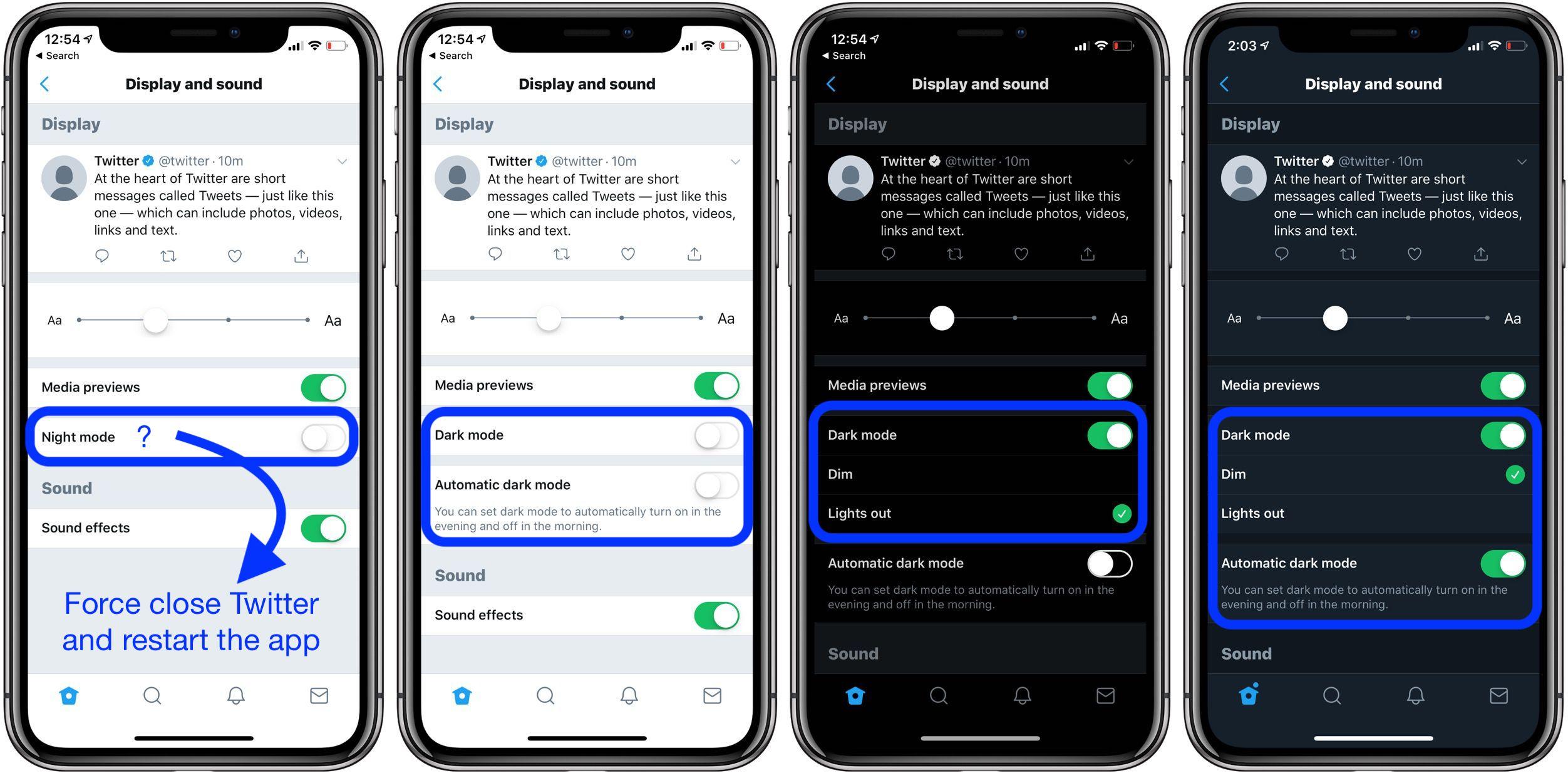 Twitter black blue night modes