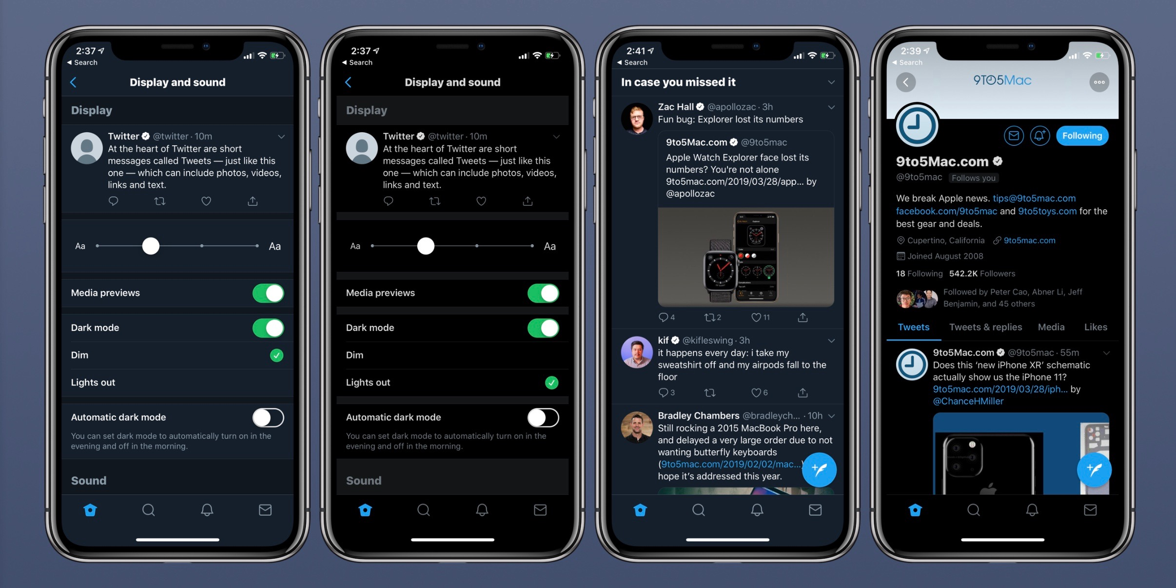 How to use Twitter's automatic and black dark modes on