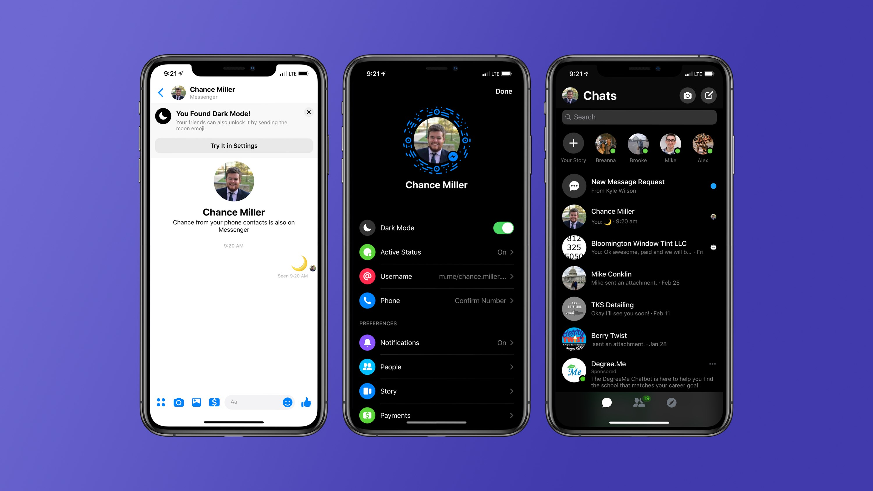 Image result for facebook messenger dark mode