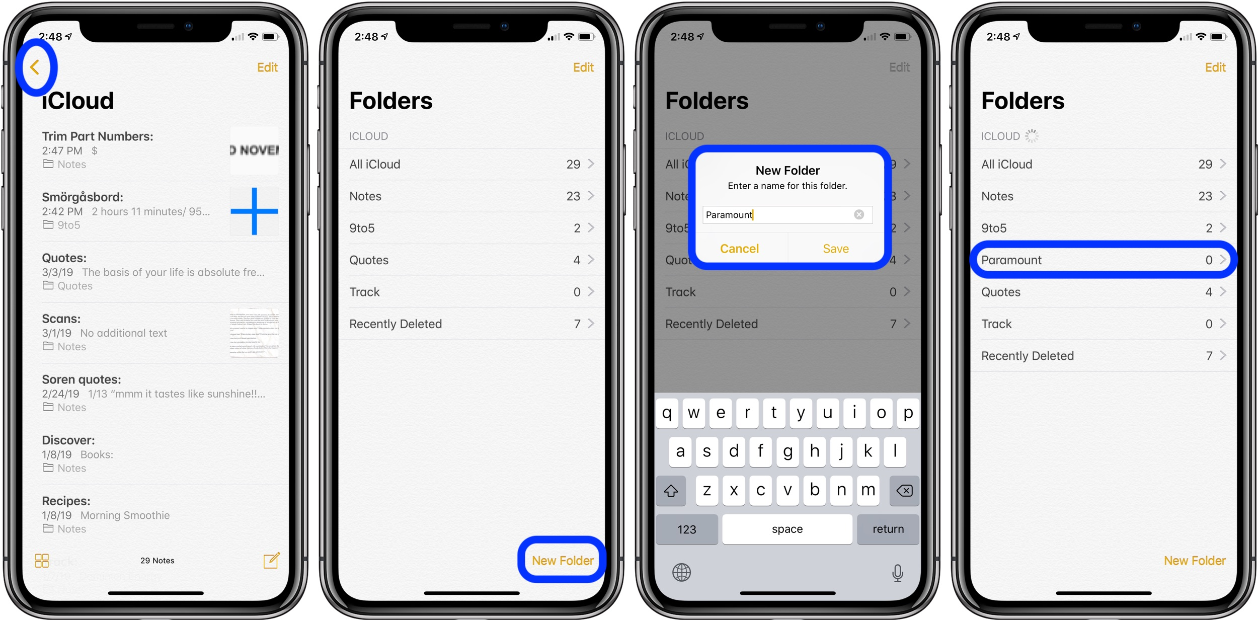 make folders Notes iPhone