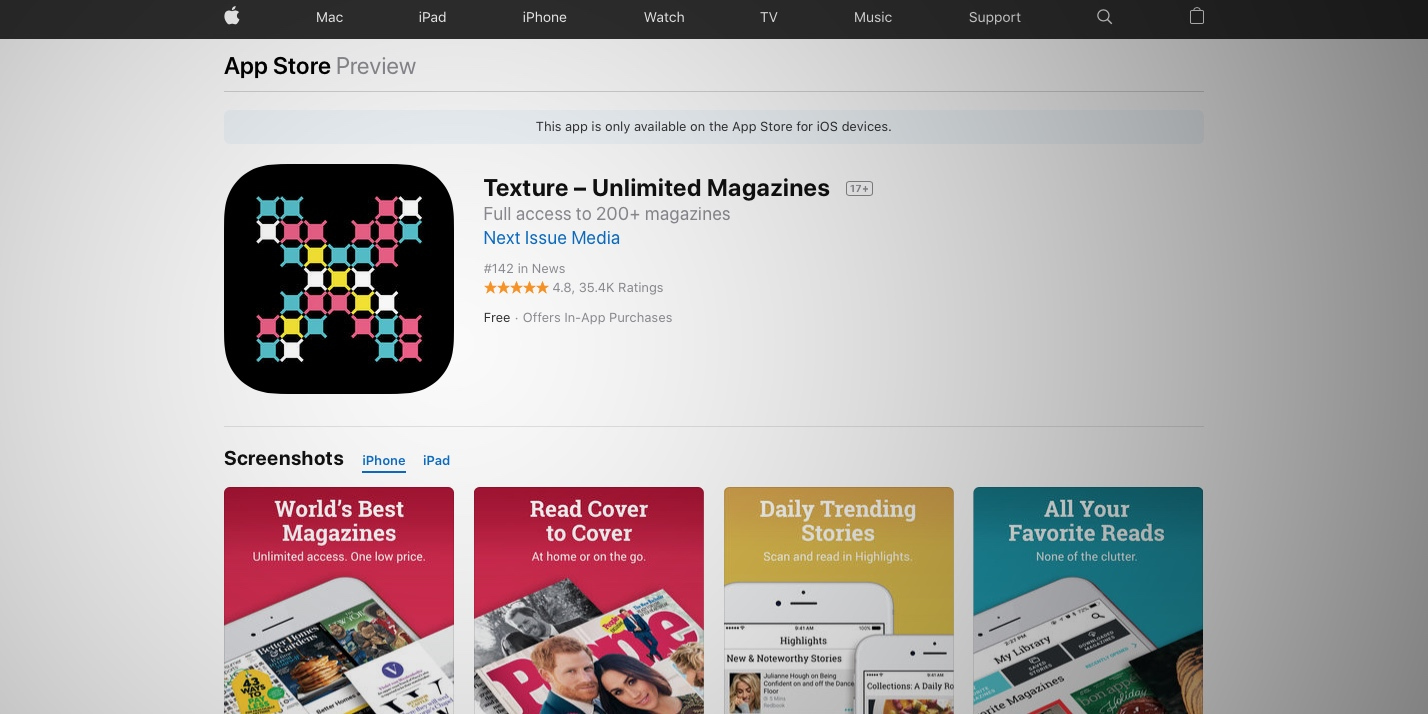 Texture app for iOS updated as Apple News subscription service looms