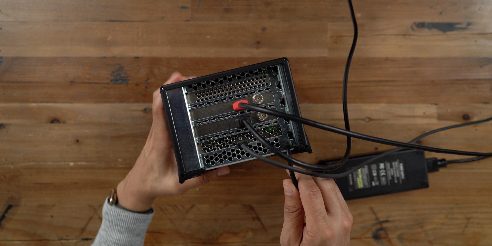 Blackmagic DeckLink Mini Recorder 4K HDMI Thunderbolt 3 connected inside Sonnet Echo Express SEIII 4K video capture enclosure