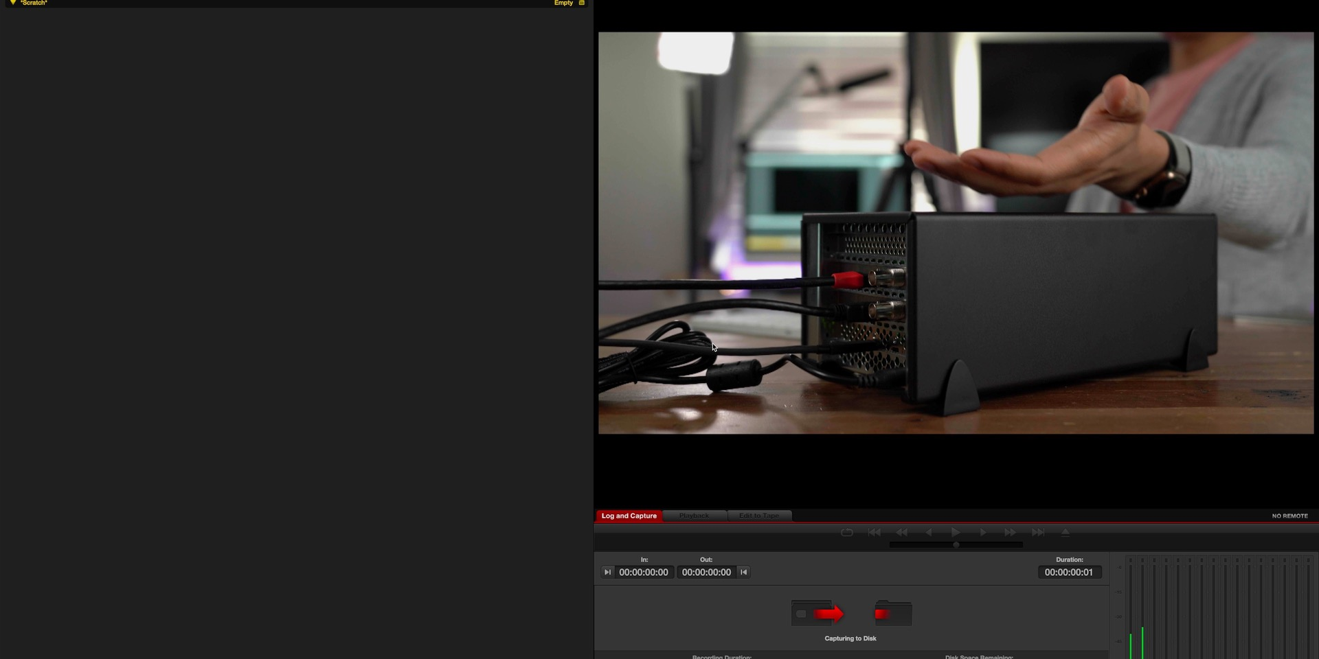 Blackmagic Media Express Capture from Blackmagic DeckLink Mini Recorder 4K in Sonnet Echo Express SEIII 02