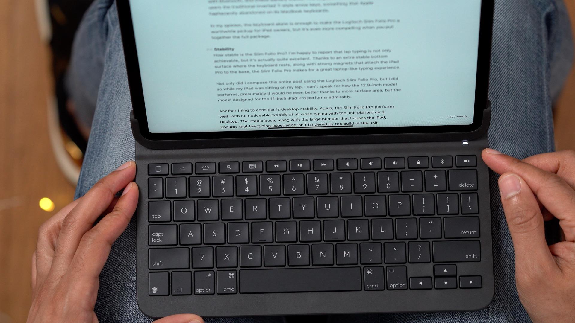Logitech Slim Folio Pro lap typing