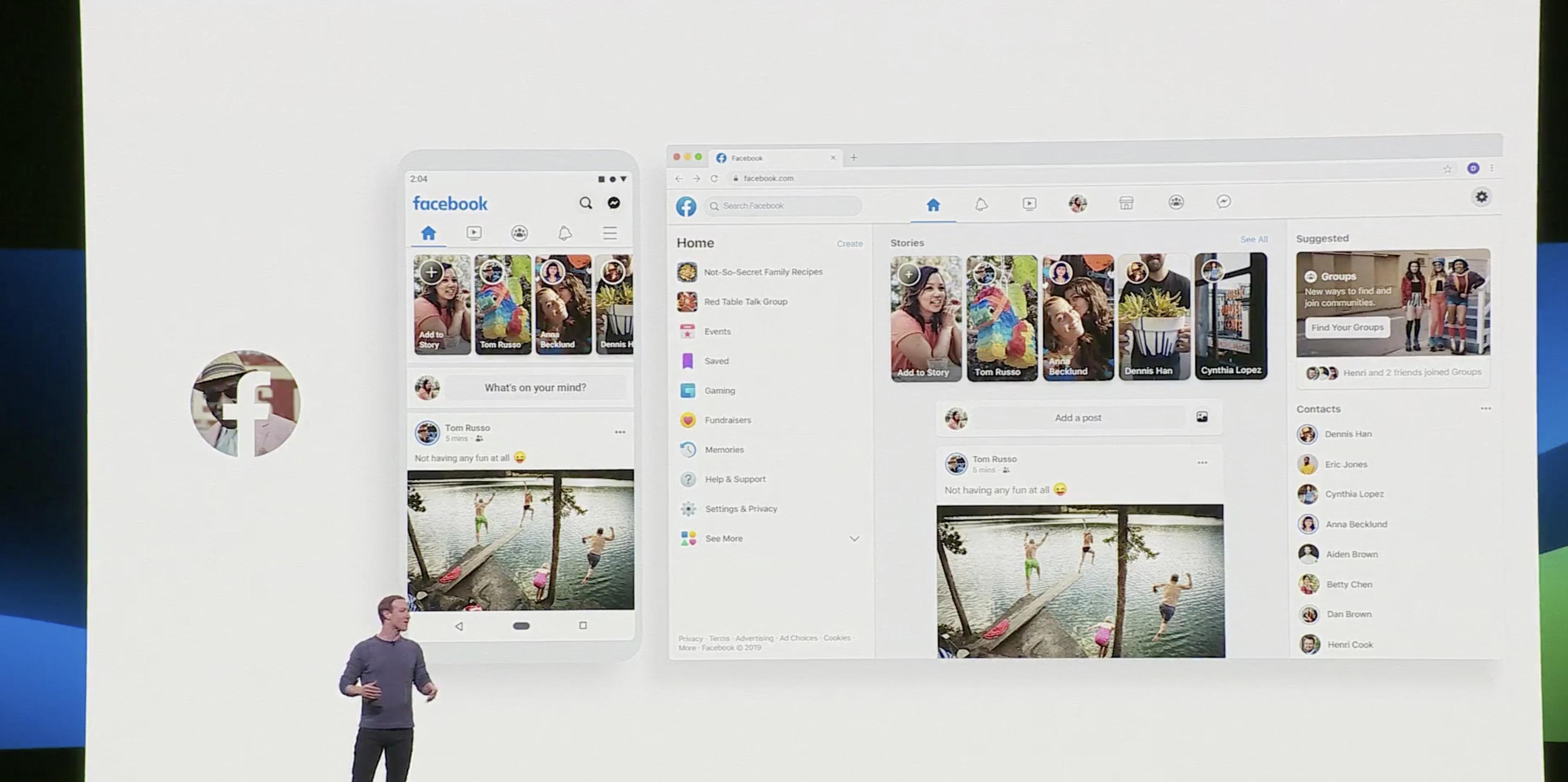 Facebook F8 new design