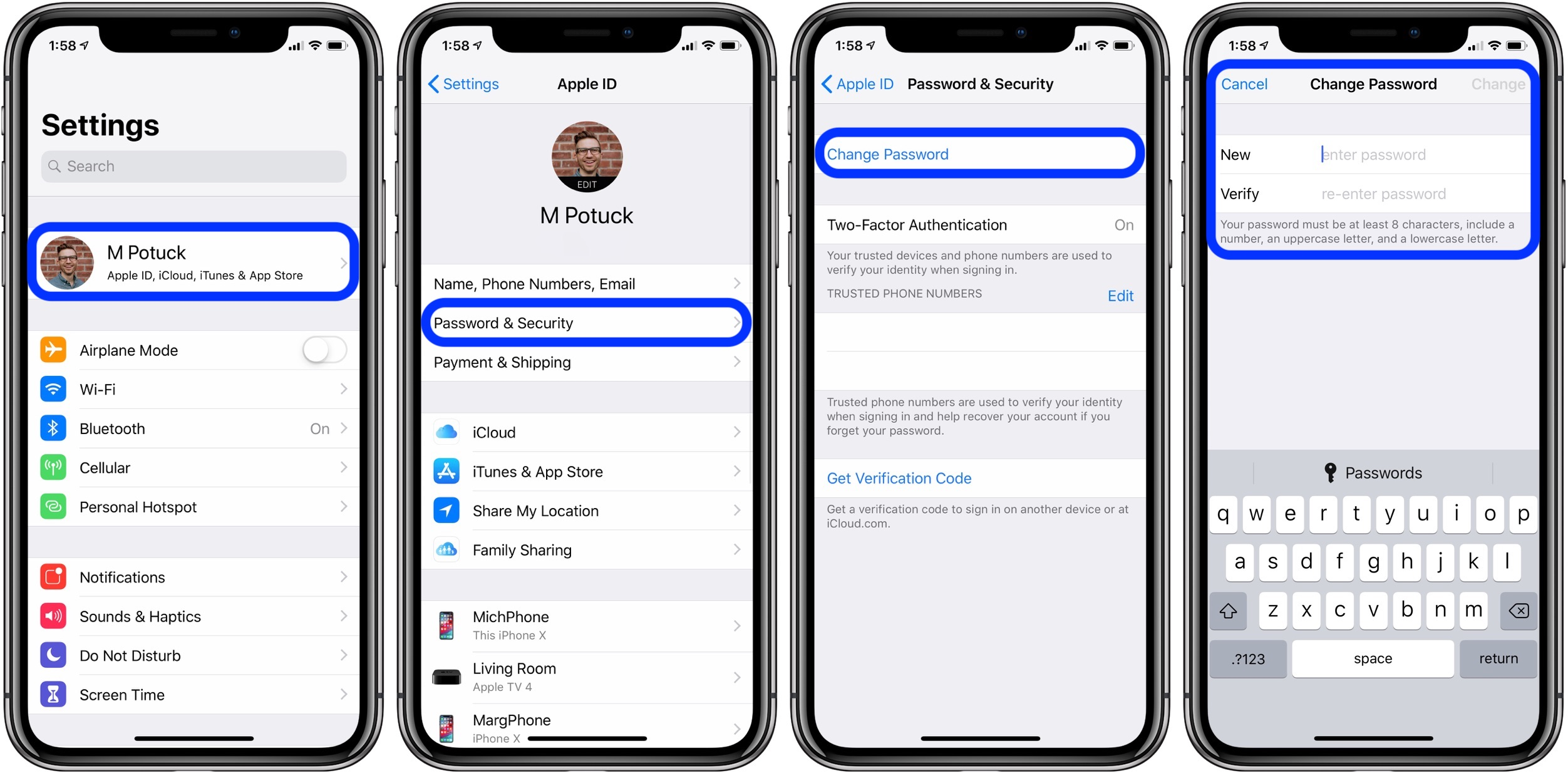 how to change Apple ID iPhone iPad web