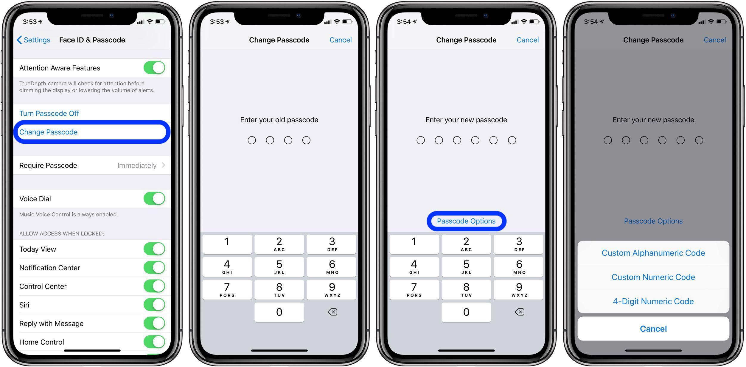 change passcode iPhone iPad