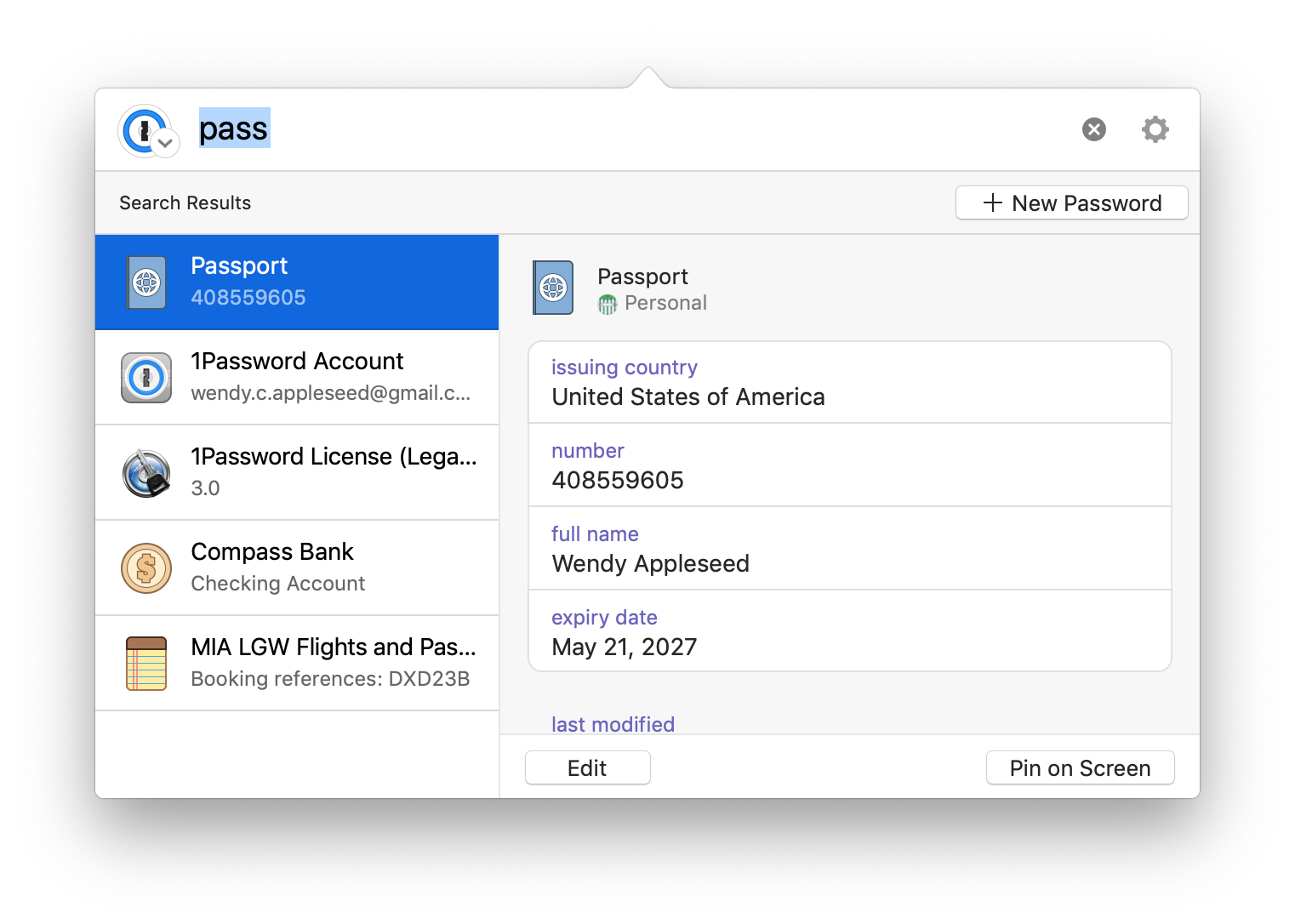 1Password mini Mac update search