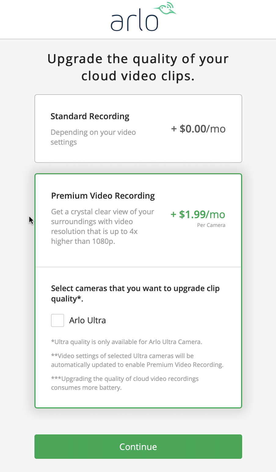 Arlo Premium Video Recording