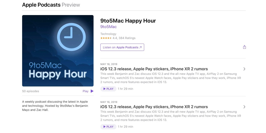 'Listen on Apple Podcasts' replaces 'iTunes' for podcast previews ahead of standalone Mac app - 9to5Mac