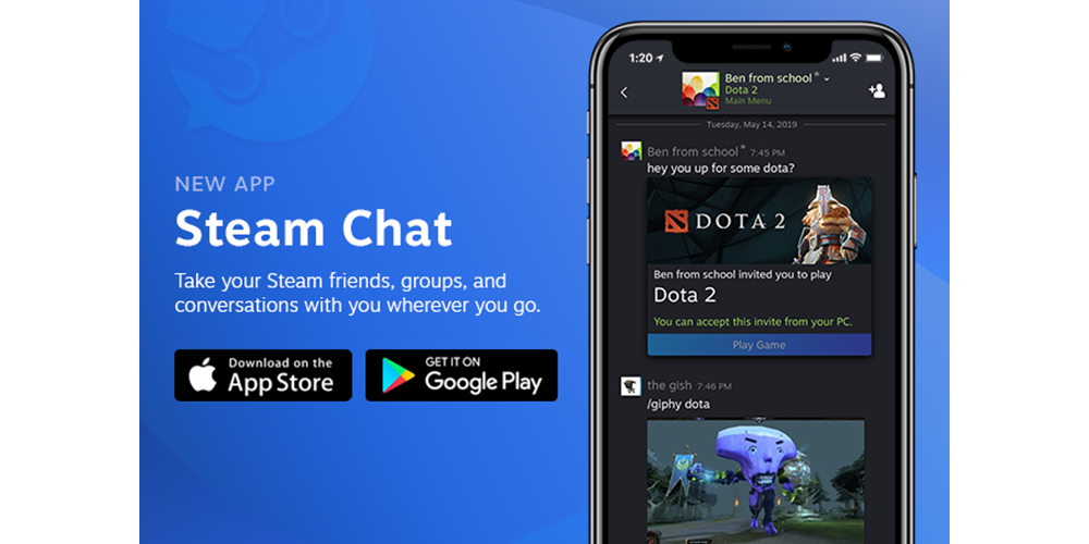 Steam Chat for iOS and Android now available, voice chat to