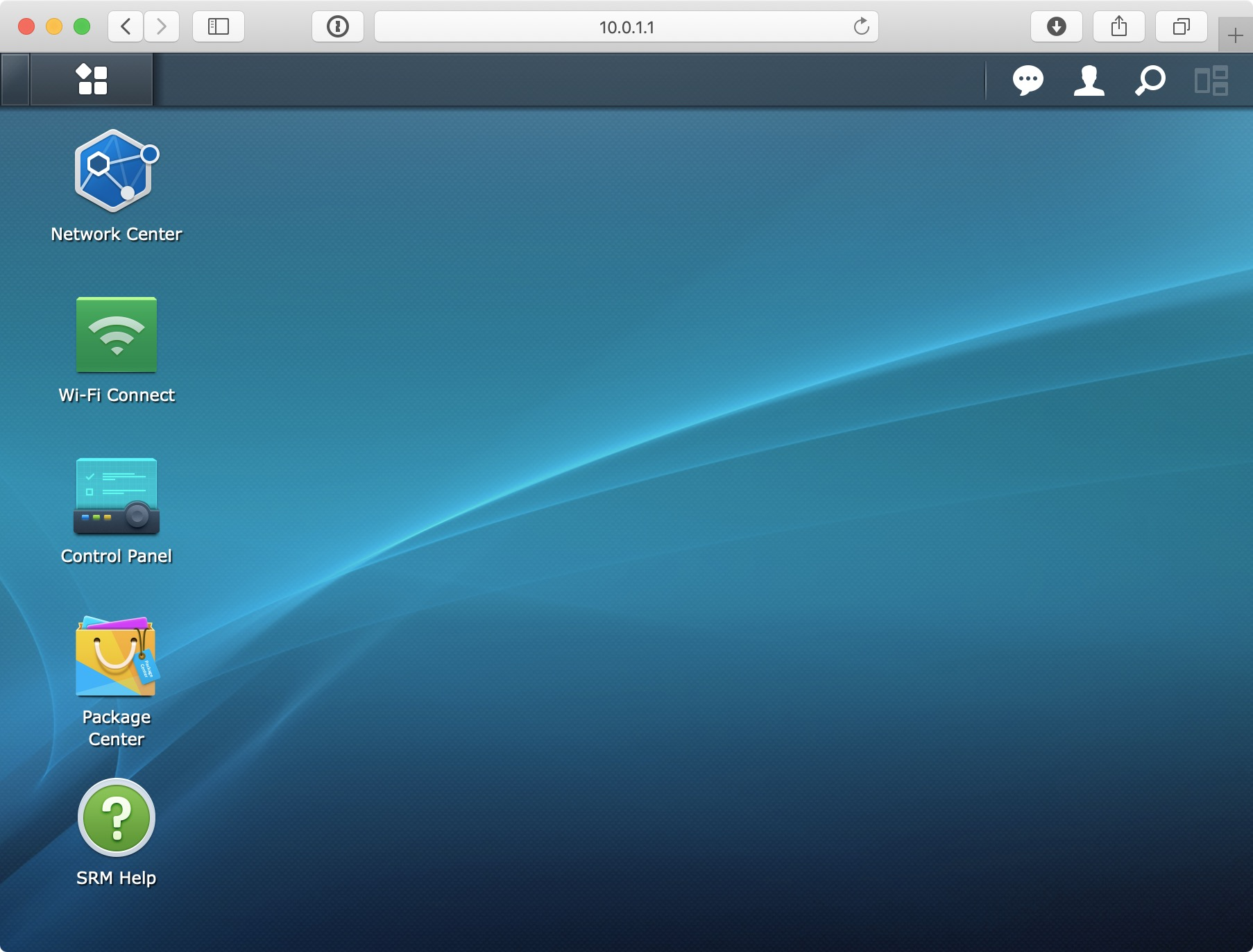 Synology SRM home screen