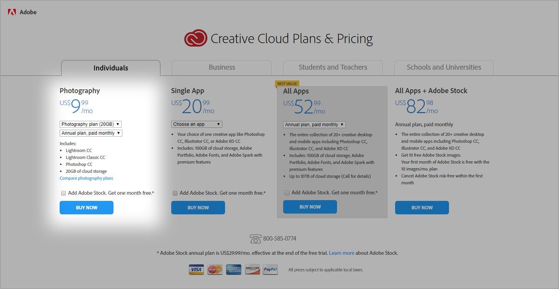 Adobe cloud photoshop price hike