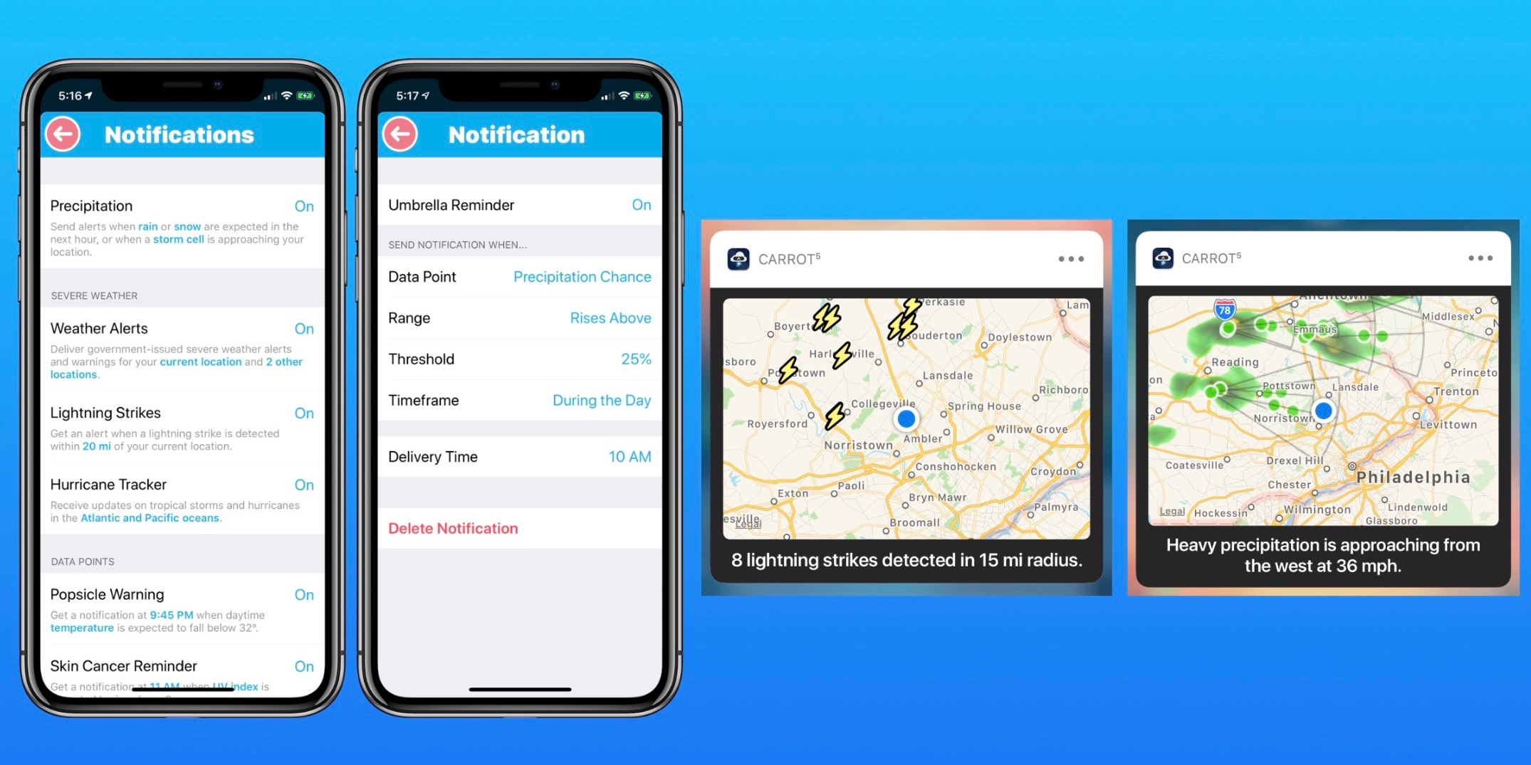 Carrot Weather iOS update brings lightning, storm cell, and custom notifications, critical alerts, more