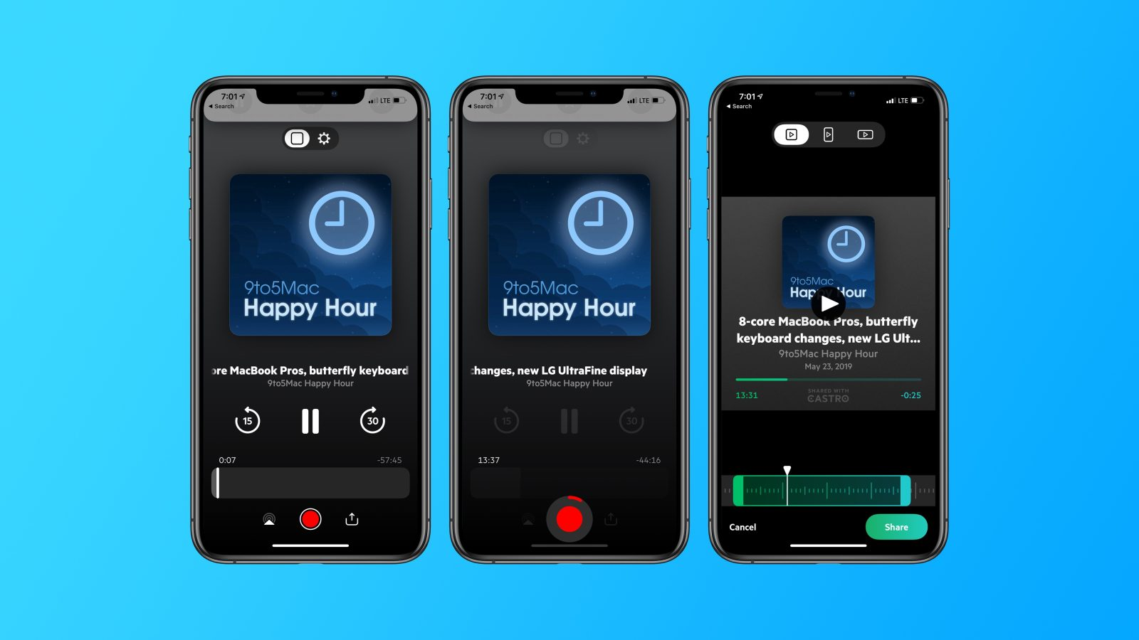Castro Podcast Player for iOS adds support for creating and sharing podcast clips