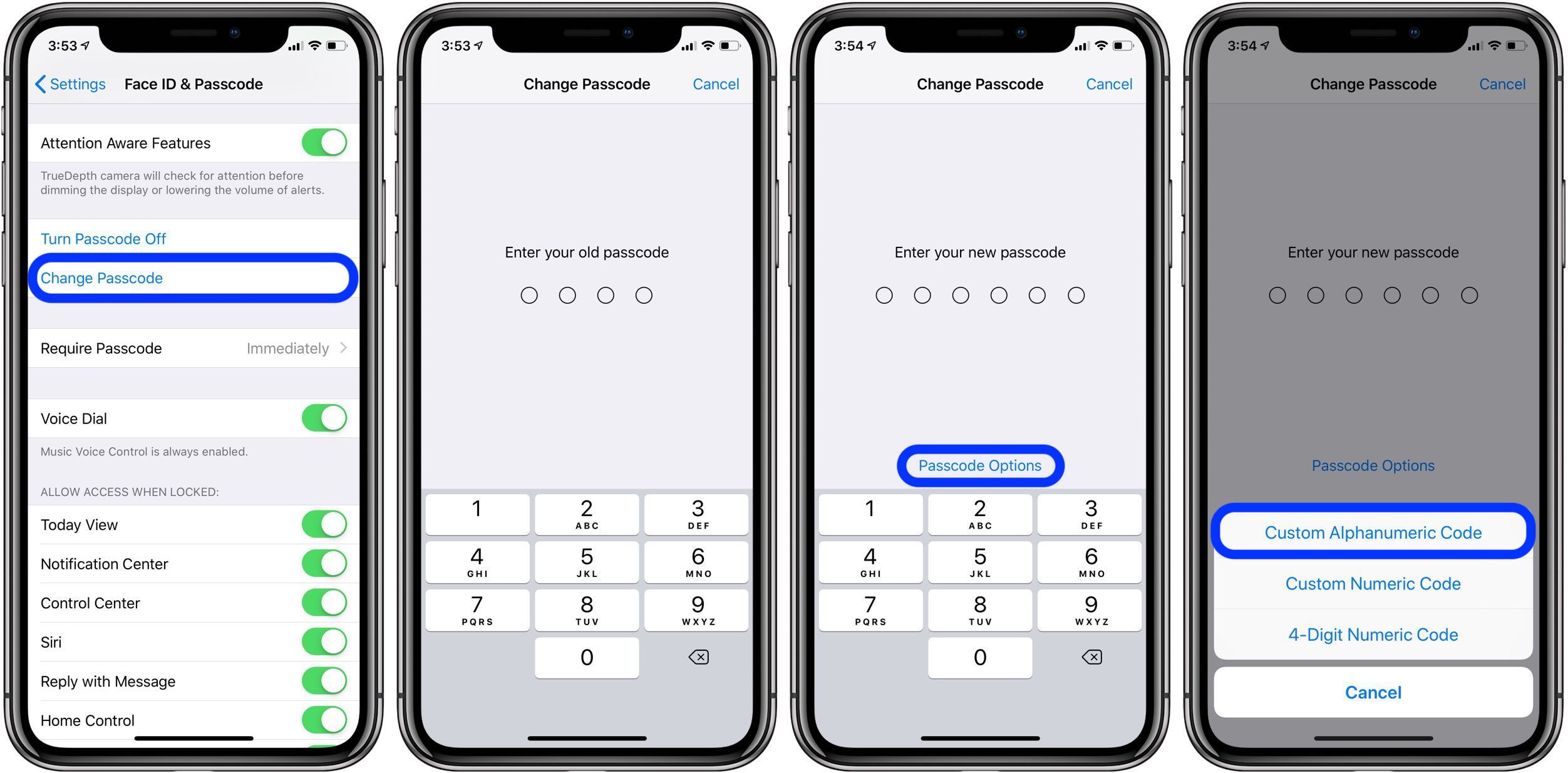 custom alphanumeric passcode iPhone walkthrough