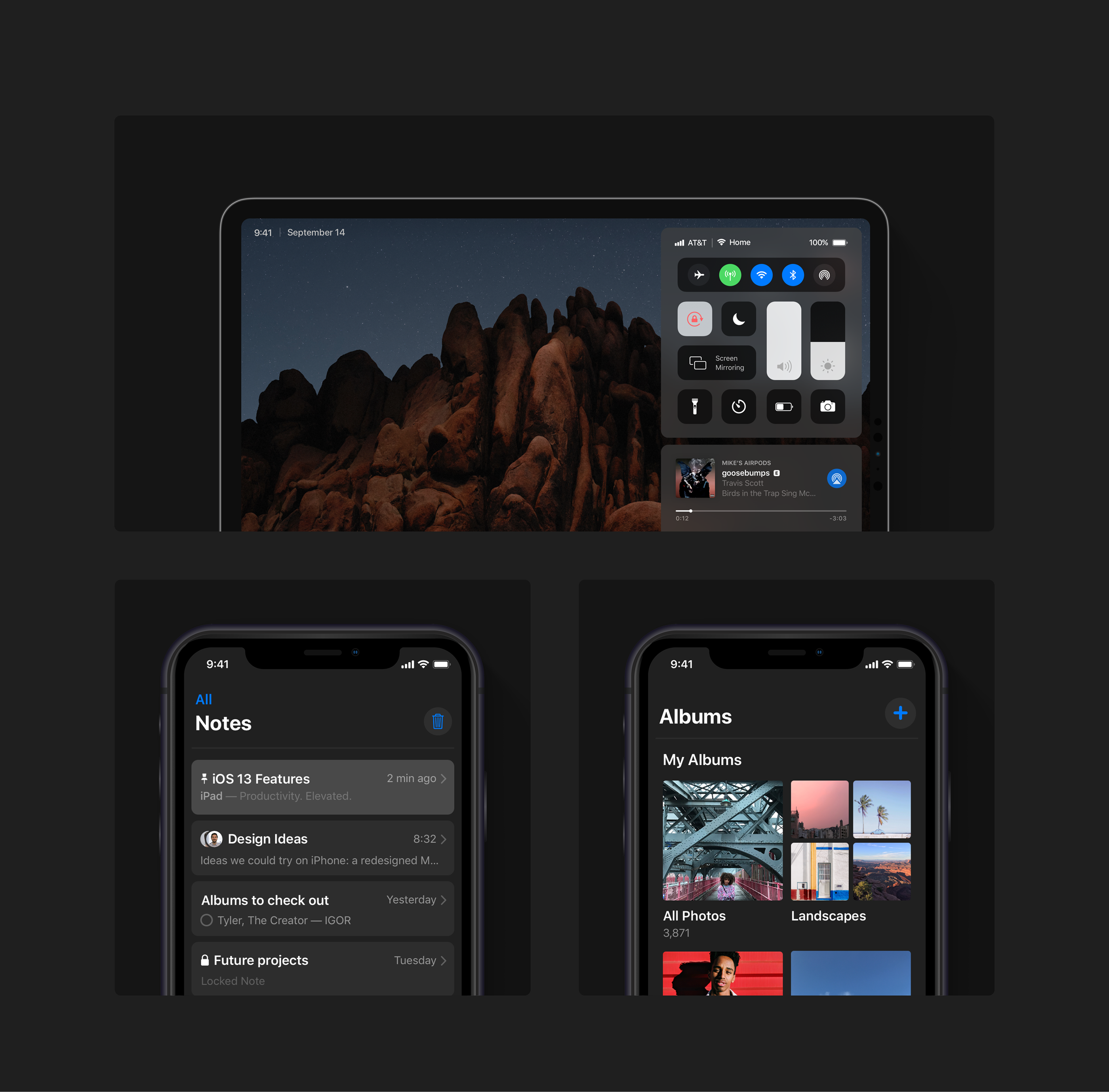 iOS 13 concept dark mode iPhone iPad