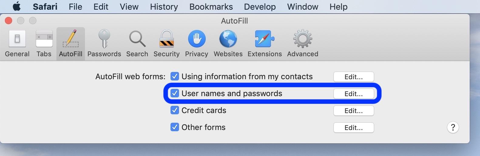 password AutoFill Mac walkthrough 2