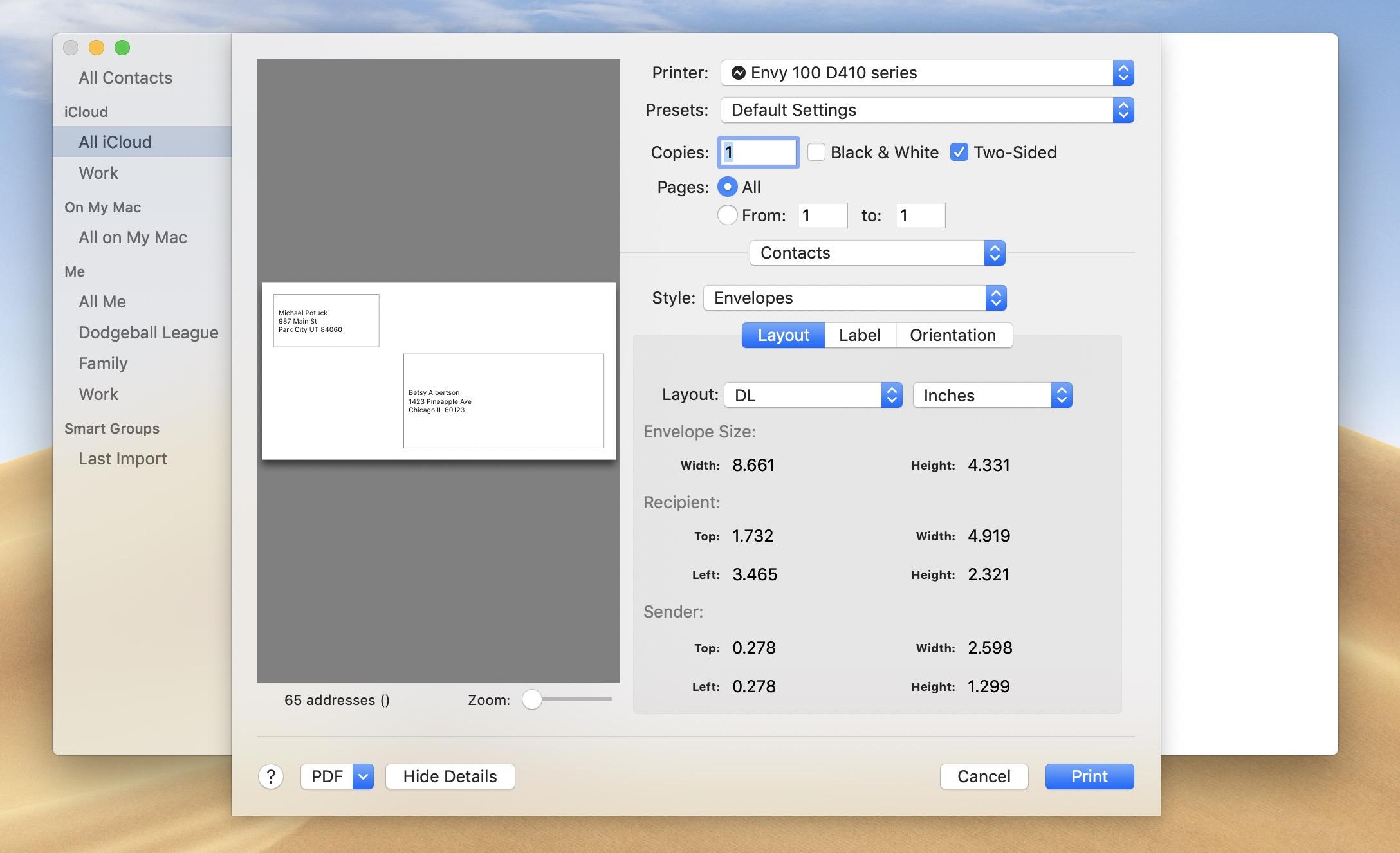 Print contact screen Mac