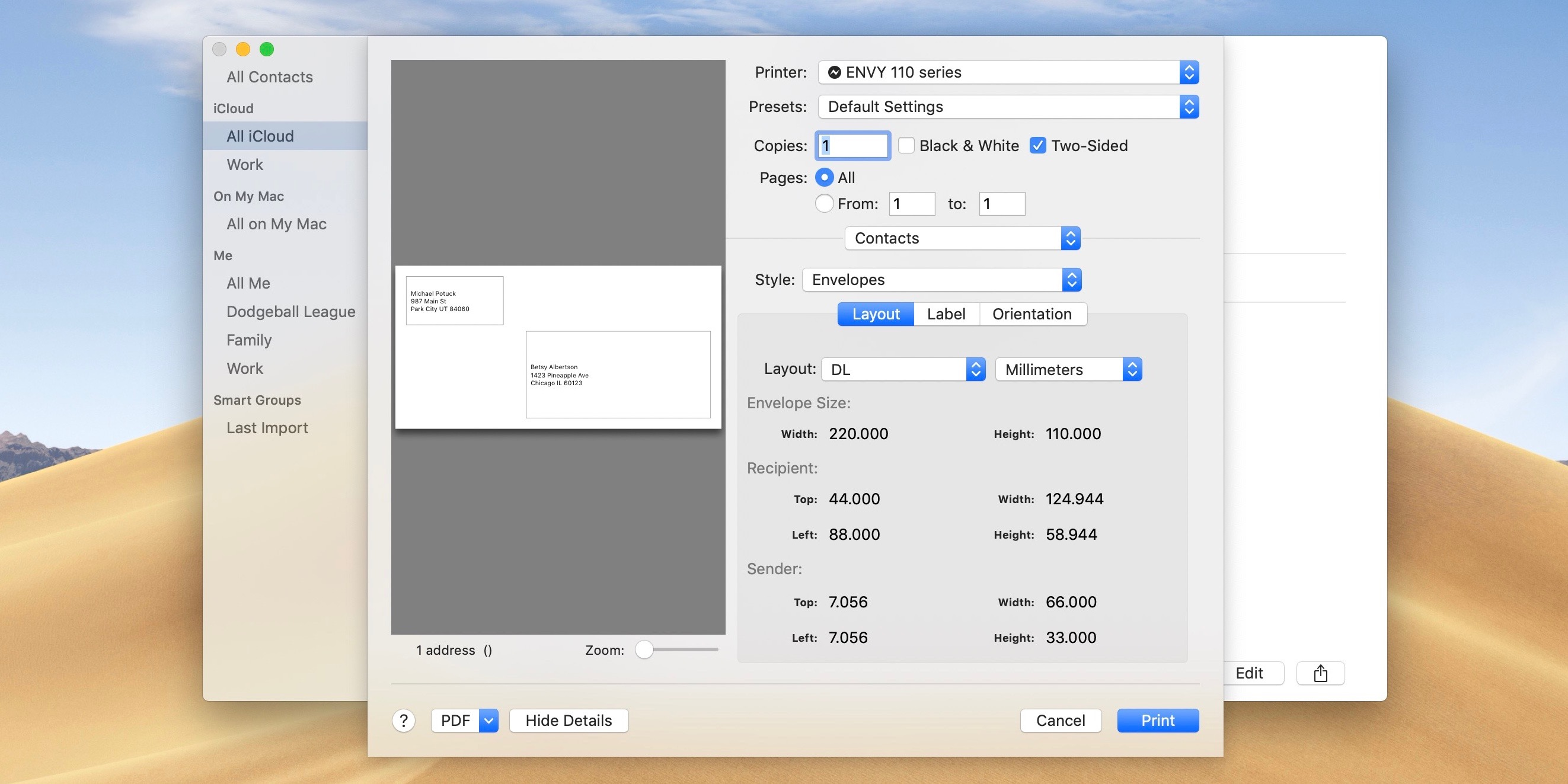 How to print contact info to envelopes, lists, and labels on Mac