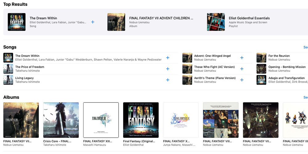 Final Fantasy soundtracks now available on Apple Music and Spotify