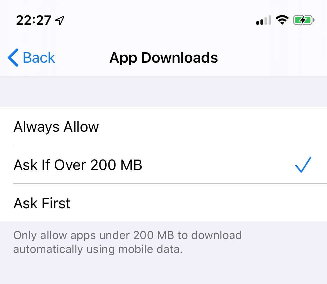 iOS 13 removes 200 MB file size limit for app downloads over